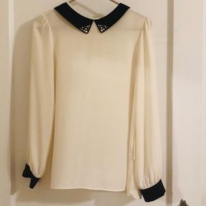 Tops - Cream long sleeve breezy blouse